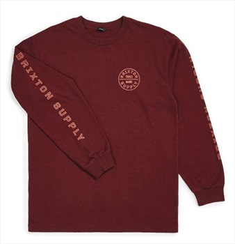 Brixton Adult Unisex Oath IV Long Sleeved T-Shirt, L Maroon