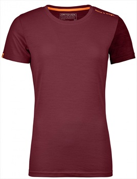 Ortovox Rock'n'Wool Women's Short Sleeve T-Shirt, XS Dark Blood