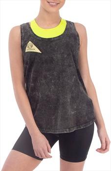 3rd Rock Womens Sun Vest Organic Cotton Vest, L Acid Black/Cowslip