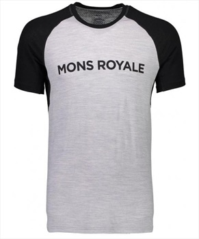Mons Royale Temple Tech Merino Wool T-Shirt, M Black/Grey Marl