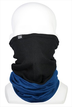 Mons Royale Fifty-Fifty Merino Wool Mesh Neck Warmer, Black/Oily Blue