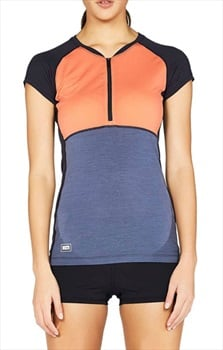 Mons Royale Bella Zip Tech Tee Women's Merino Wool T-Shirt, L Coral