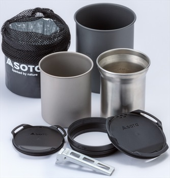 Soto Thermostack Cook Set Combo Lightweight Backpacking Cookware, Grey