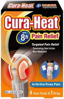 Cura-Heat Arthritis/Knee Pain Elasticated Wrap & Heat Packs, White