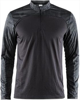 Craft Eaze Long Sleeve Quick Dry Half-Zip Jersey T-Shirt, L Black