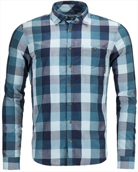 Ortovox Men's Cortina Shirt Long Sleeve - S, Blue Navy Check