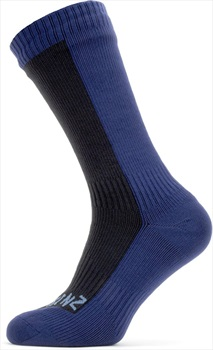 SealSkinz Cold Weather Mid Length Waterproof Socks, XL Black/Navy Blue