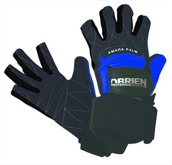 O'Brien Pro Skin 3/4 Waterski Wakeboard Gloves, Large Black Blue