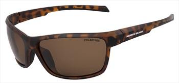 North Beach Opah Brown Polarised Sunglasses, Matte Brown Tortoise