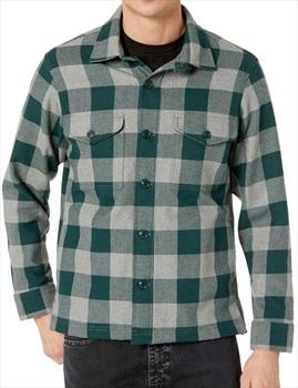 Filson Deer Island Flannel Shirt Jacket, XL Forest/Heather Grey