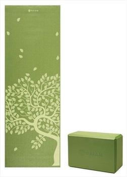 Gaiam Yoga/Pilates Mat and Block Set, Tree Of Life/Green Apple