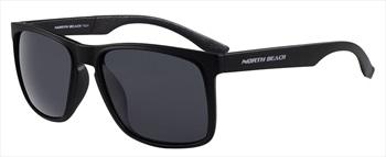 North Beach Asp Grey Polarised Sunglasses, Matte Black