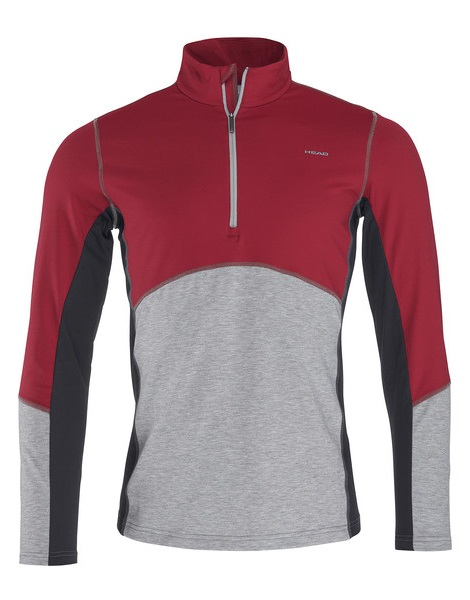 Head Adam Half Zip Mid Layer, L Burgundy/ Grey Melange