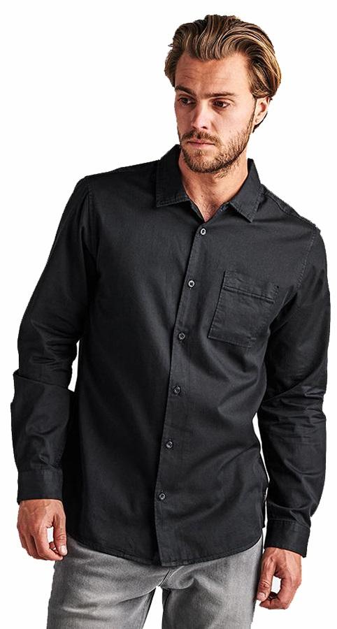 Roark Adult Unisex Well Worn Button Up Long Sleeve Shirt, S Black