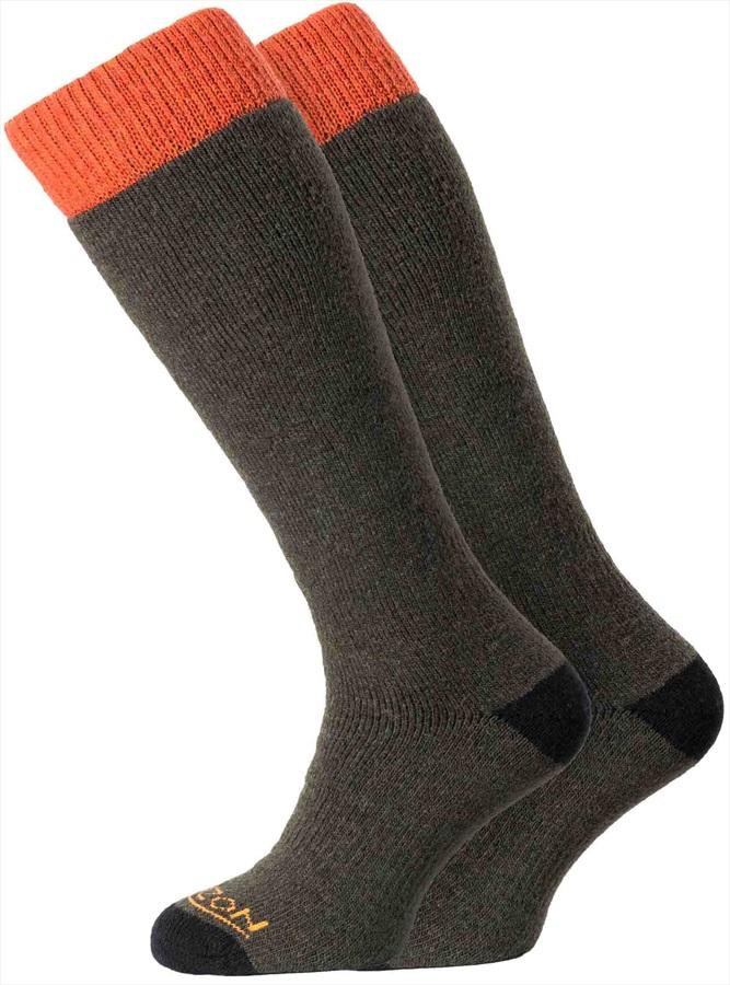 Horizon Heritage Winter Sport 2pk Merino Socks, UK 8-12 Olive/Orange