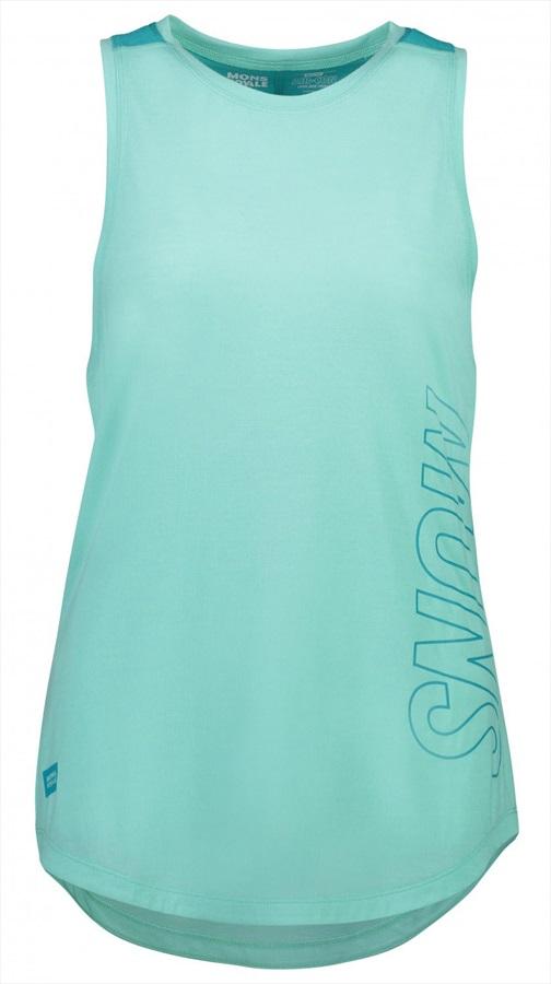 Mons Royale MTN X Women's Merino Wool Tank Top Vest, XS Tropicana/Mint