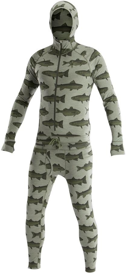 Airblaster Mens Merino Ninja Suit Hooded Base Layer, L Olive Fish