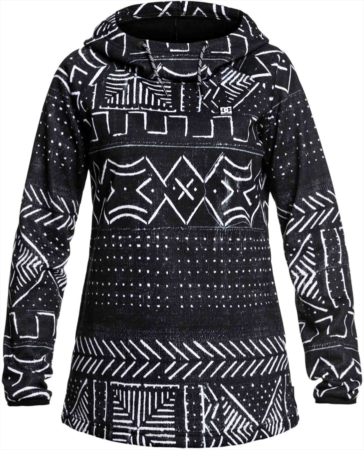 DC Salem Women's Snowboard/Ski Fleece Hoodie, S Black Mud Cloth Print