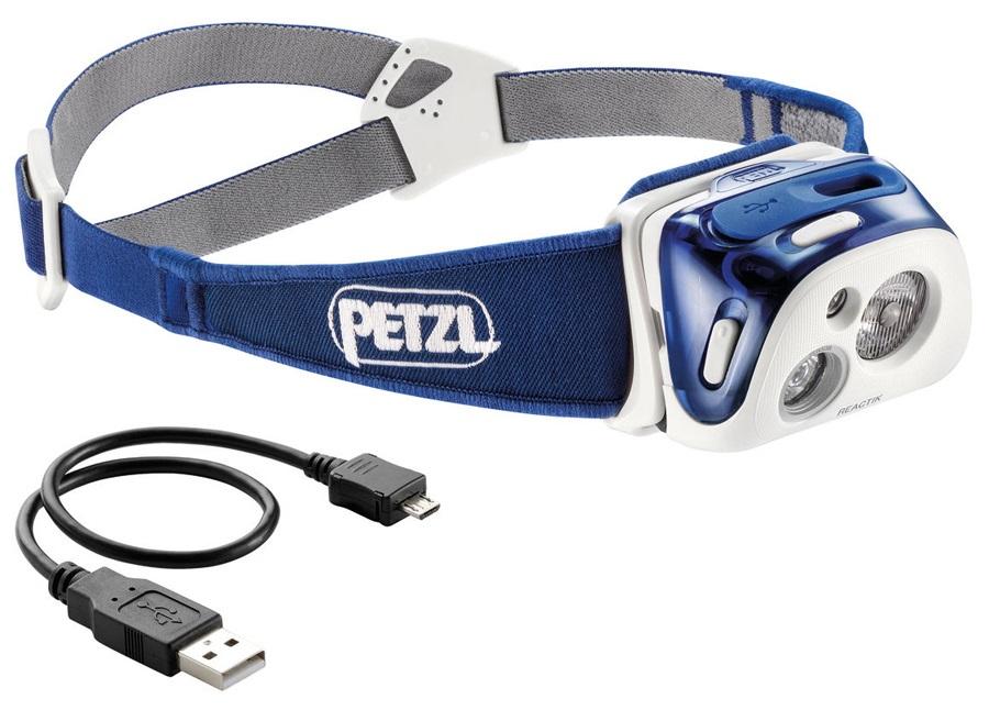 Petzl Reactik IPX4 Rechargeable Headtorch, 220 Lumens Blue
