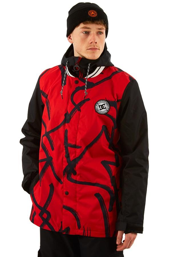 DC DCLA Ski/Snowboard Jacket, M Racing Red Hieroglyphic Print