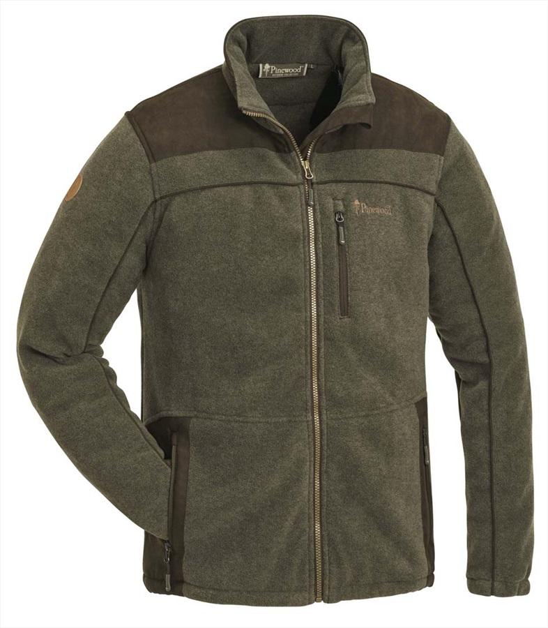Pinewood Prestwick Exclusive Full Zip Fleece, L Olive/Brown