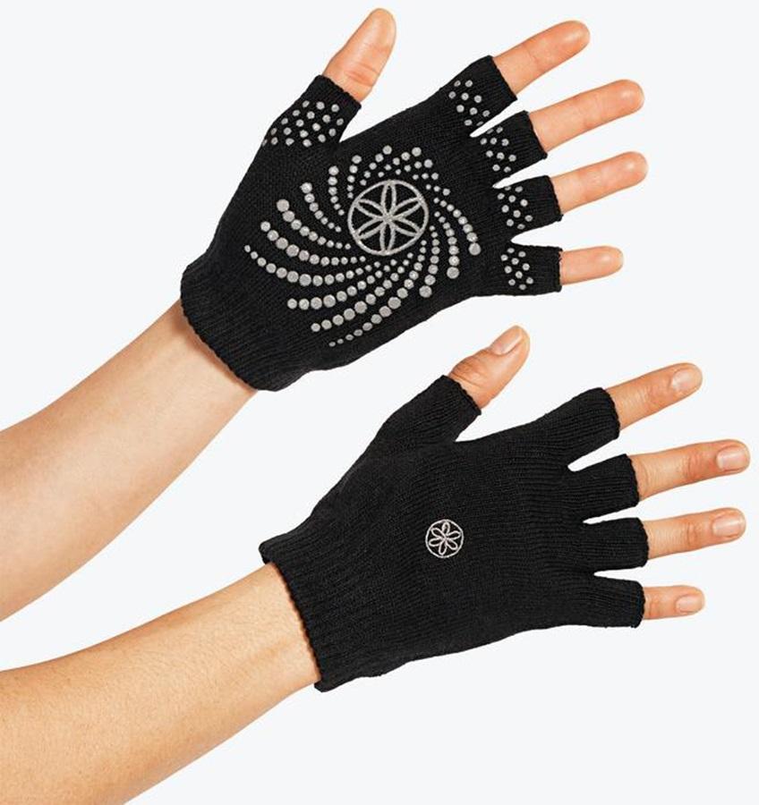 Gaiam Grippy Yoga Gloves, Black/Grey