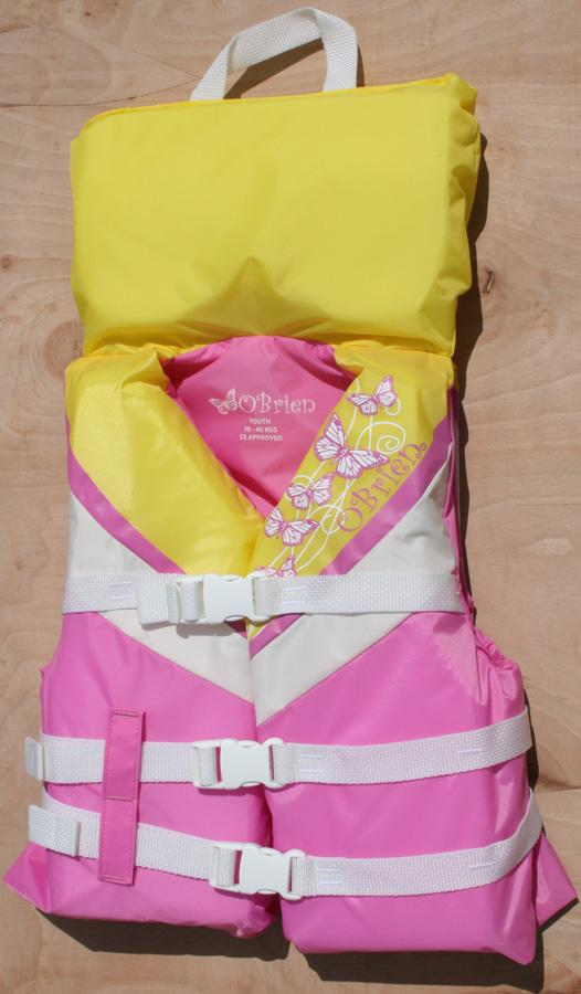 O'Brien Kids CE With Collar Watersports Buoyancy Jacket Youth Pink Yel
