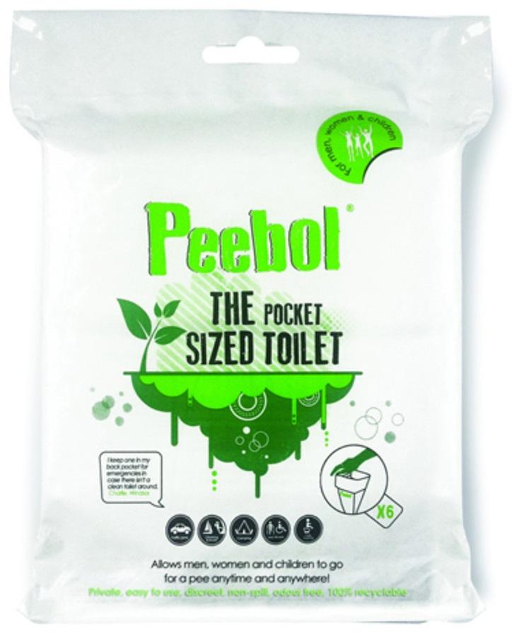 Shewee Peebol Pocket-Sized Disposable Urinal Bag, 6 Pack
