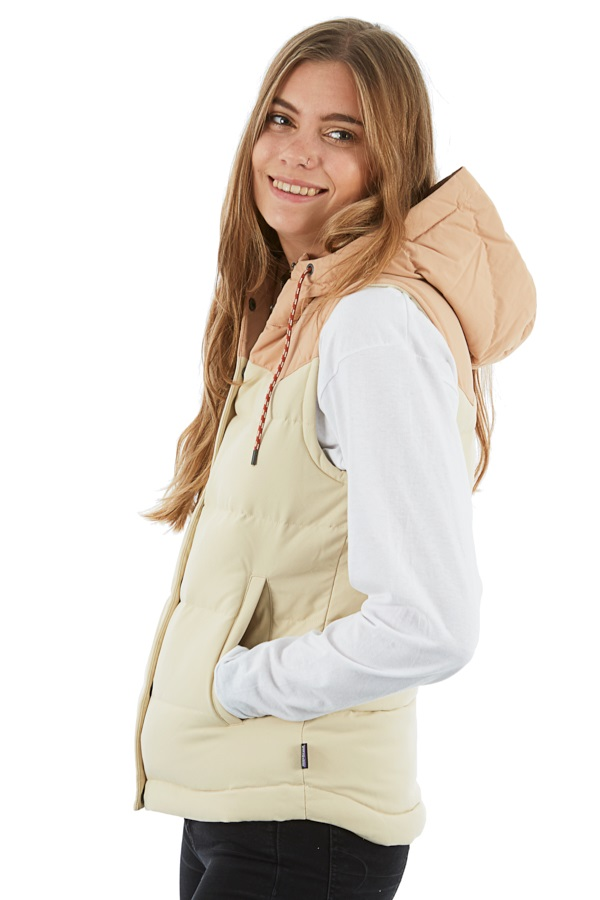 Patagonia Womens Bivy Down Hooded Vest Body Warmer Gilet, M Oyster