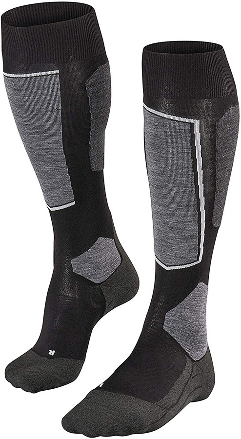 Falke Mens SK6 Merino Wool Men's Ski Socks, UK 5.5-7.5 Black-Mix