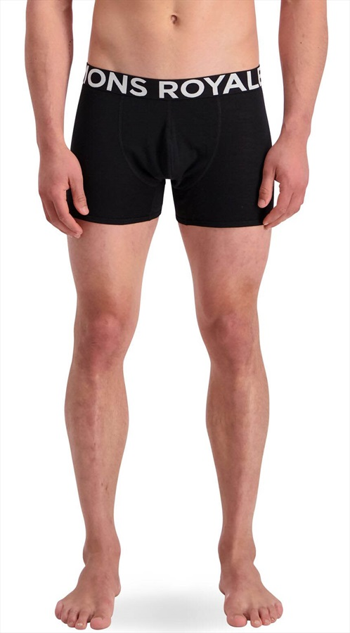 Mons Royale Hold'em Shorty Merino Wool Thermal Boxers, S Black