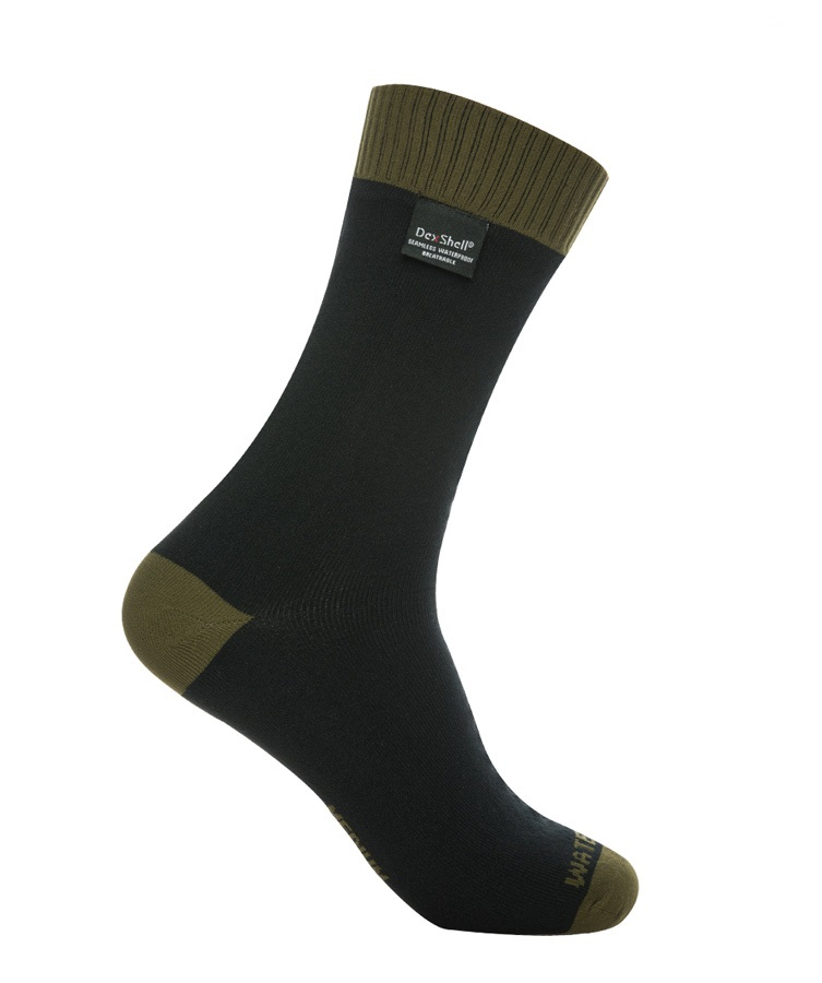 DexShell Thermlite Waterproof Socks, UK 12-14, Olive Green / Black