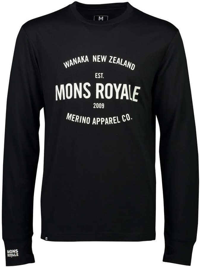 Mons Royale Yotei Tech Long Sleeve Merino Wool Top, XL Black