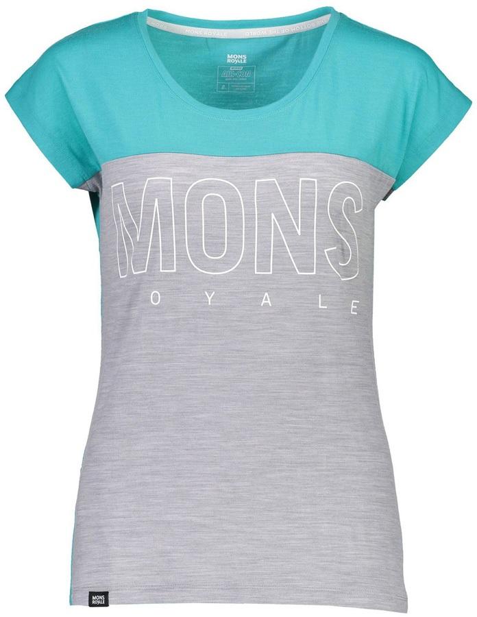 Mons Royale Phoenix Cap Women's Merino Wool T-Shirt, XS Tropicana/Grey