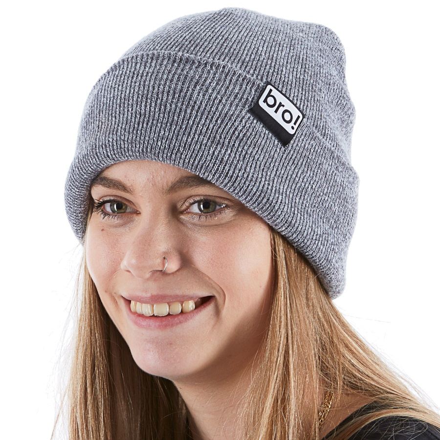 Bro! Ski/Snowboard Beanie, One Size Heather Grey