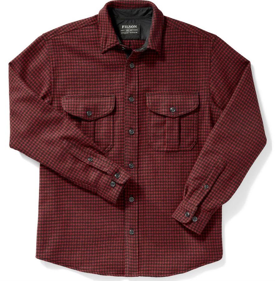 Filson Adult Unisex Northwest Wool Long Sleeve Shirt, L Red/Black