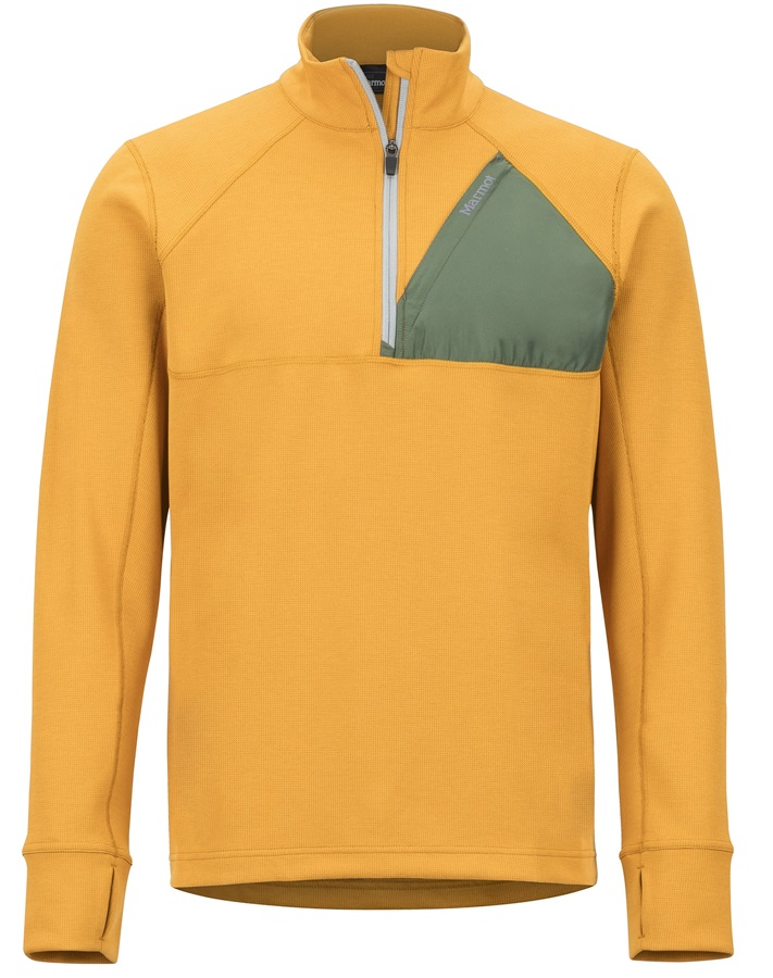 Marmot Hanging Rock 1/2 Zip Technical Pullover, M Aztec Gold/Crocodile