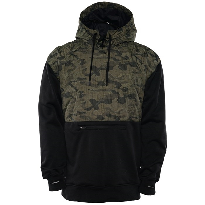 Saga Hybrid Riding Pullover Technical Hoodie/ Midlayer, L Olive Camo