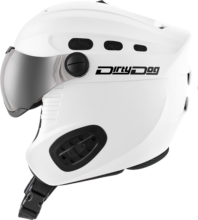 Dirty Dog Apache Snowboard/Ski Visor Helmet L Matte White Flash Silver
