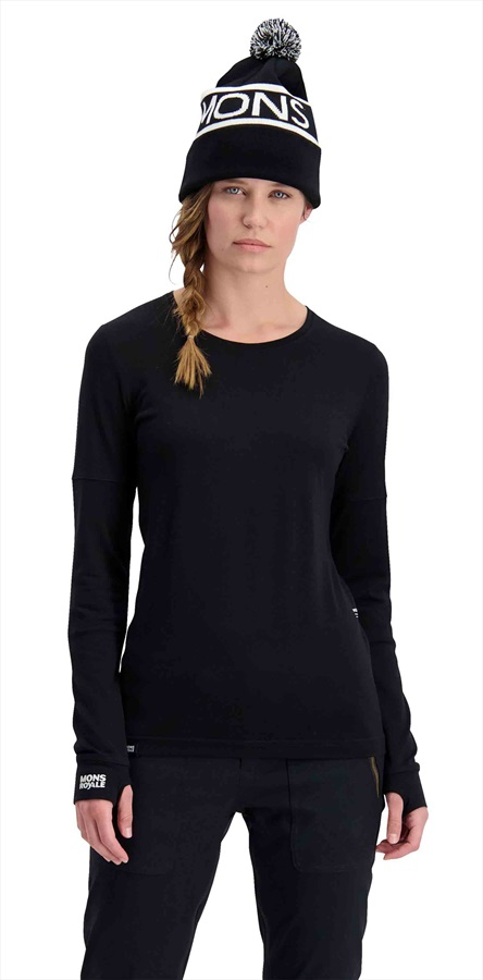 Mons Royale Cornice Long Sleeve Women's Merino Wool Top L Black
