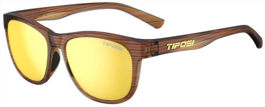 Tifosi Swank Sunglasses, Woodgrain/Smoke Yellow