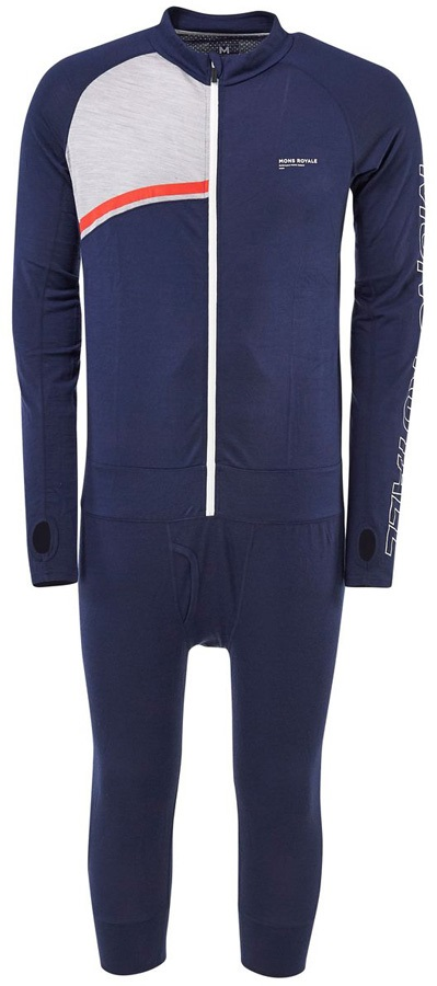 Mons Royale Supermons 3/4 Merino Wool Thermal One-Piece, M Navy/Grey