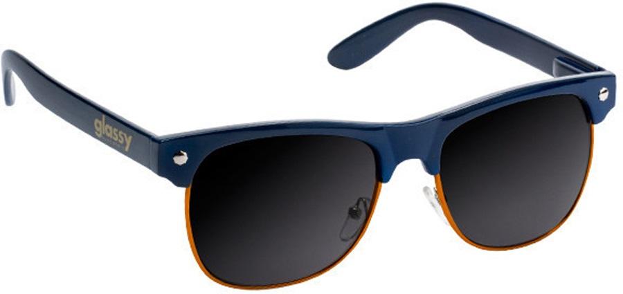 Glassy Sunhaters Shredder Clubmaster Sunglasses Navy/Orange Grey Lens
