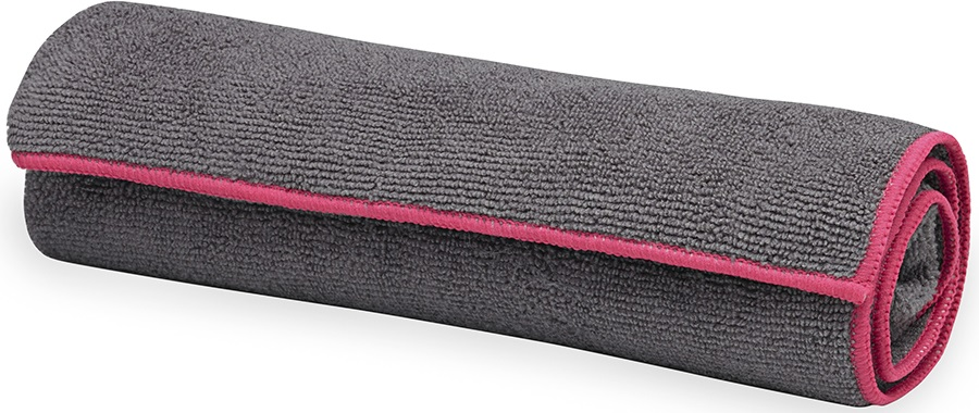Gaiam Yoga Hand Towel, Frost Grey/Fuchsia Red