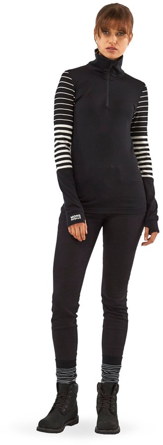 Mons Royale Cornice Half Zip Merino Thermal Top XS Black/Stripe