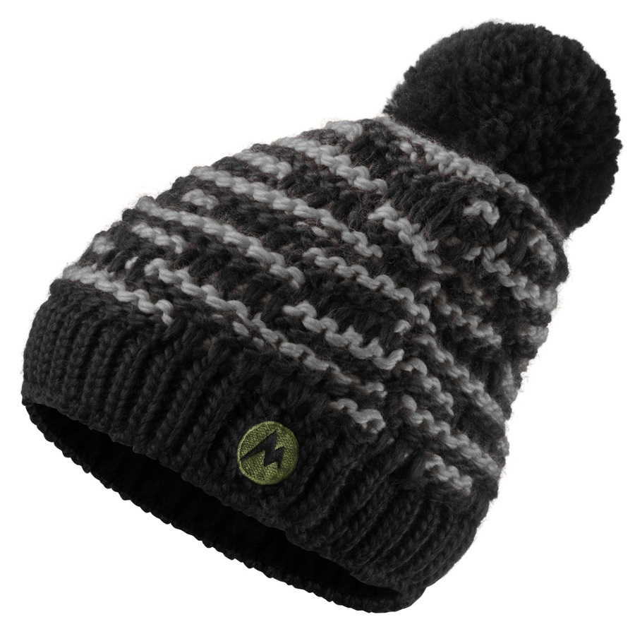 Marmot Rosalie Beanie Bobble Hat, Black/Dark Grey