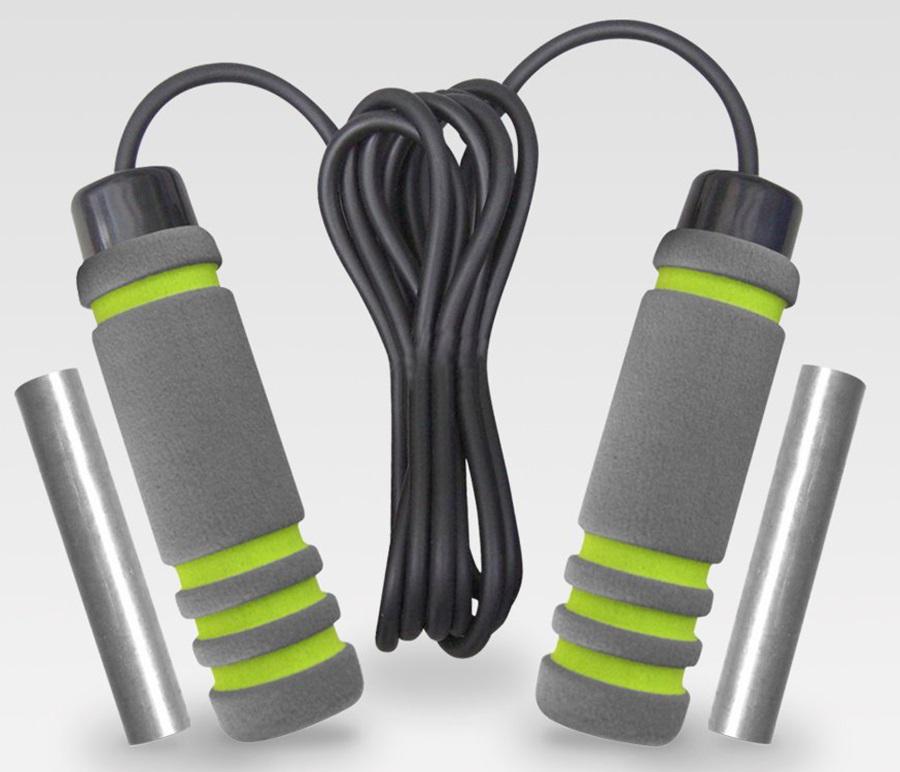 Phoenix Fitness Weights Skipping Rope, Grey/Black/Green