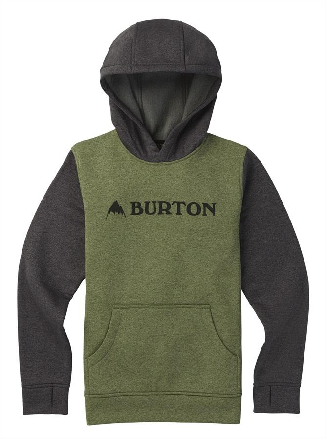 Burton Boy's Oak Pullover Hoodie, M Clover Heather/True Black Heather