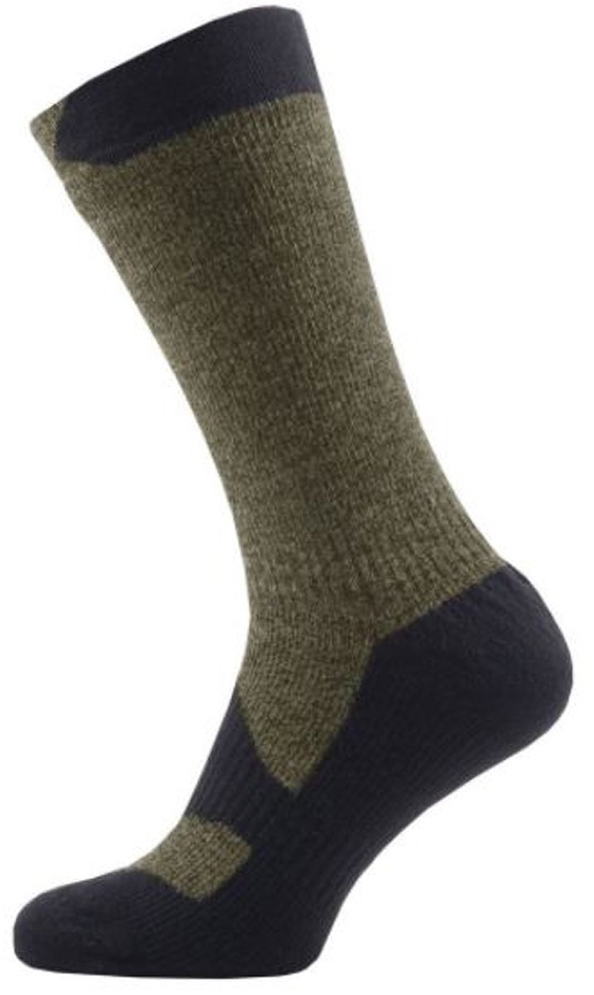 SealSkinz Walking Thin Mid Waterproof Socks, XL Olive Marl/Charcoal