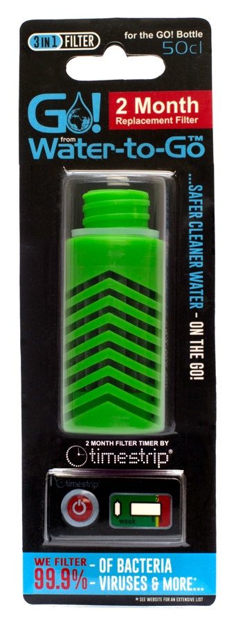 Water-To-Go Replacement Water Filter Purifier Cartridge, Green